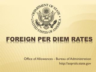 Foreign Per Diem Rates
