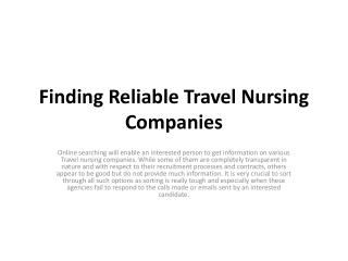 Finding Reliable Travel Nursing Companies