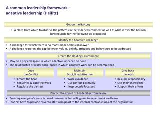 A common leadership framework –  adaptive leadership (Heifitz)