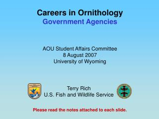 Careers in Ornithology Government Agencies
