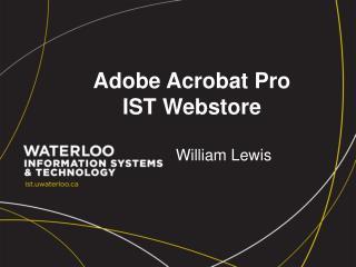 Adobe Acrobat Pro IST  Webstore