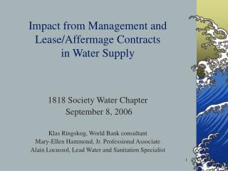 Impact from Management and Lease/Affermage Contracts  in Water Supply