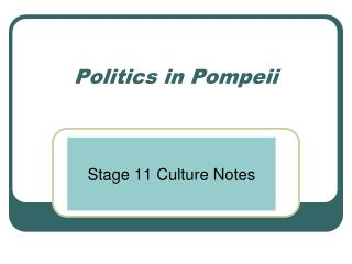 Politics in Pompeii