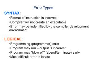 SYNTAX :   Format of instruction is incorrect Compiler will not create an executable