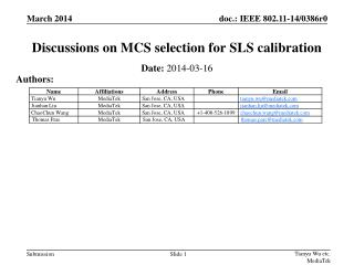 Discussions on MCS selection for SLS calibration