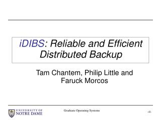 iDIBS : Reliable and Efficient Distributed Backup