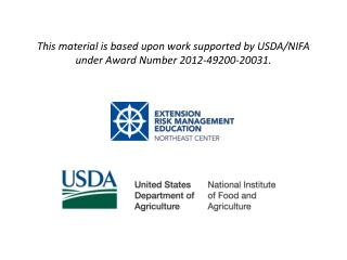 This material is based upon work supported by USDA/NIFA under Award  Number  2012-49200-20031.