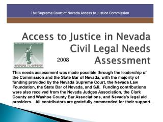 Access to Justice in Nevada Civil Legal Needs Assessment