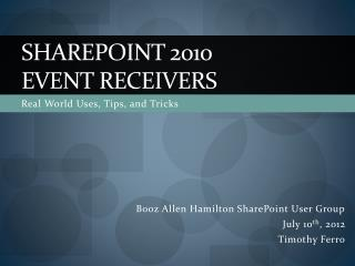 SharePoint 2010 event receivers
