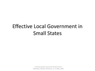 Effective Local Government in Small States