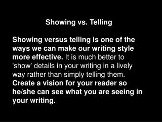 Showing vs. Telling