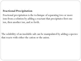 Fractional Precipitation