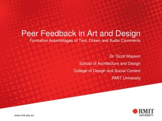 Peer Feedback in Art and Design Formative Assemblages of Text, Drawn and Audio Comments