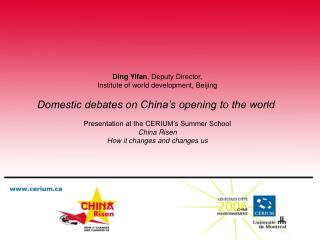 Ding Yifan ,  Deputy  Director, Institute of world development, Beijing