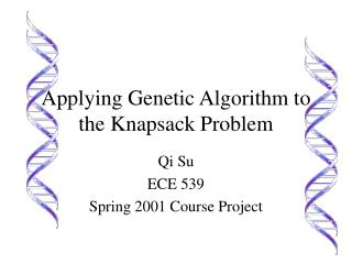 Applying Genetic Algorithm to the Knapsack Problem