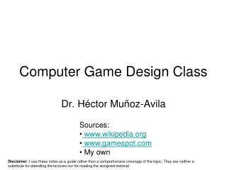 Computer Game Design Class
