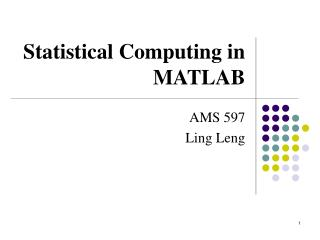 Statistical Computing in MATLAB
