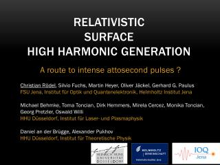 Relativistic  Surface  High Harmonic Generation