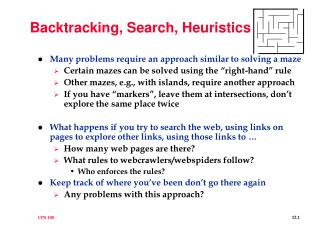 Backtracking, Search, Heuristics