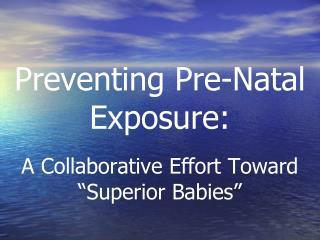 "Preventing Pre-Natal Exposure: A Collaborative Effort Toward  ""Superior Babies"""