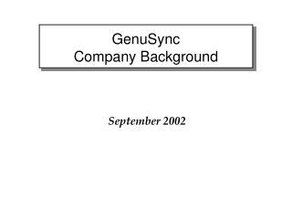 GenuSync   Company Background