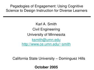 Pegadogies of Engagement: Using Cognitive Science to Design Instruction for Diverse Learners