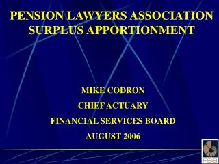 PENSION LAWYERS ASSOCIATION SURPLUS APPORTIONMENT