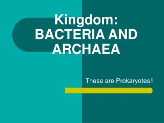 Kingdom:  BACTERIA AND ARCHAEA