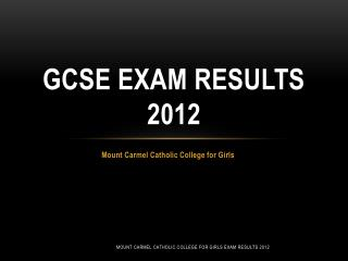 GCSE Exam Results 2012
