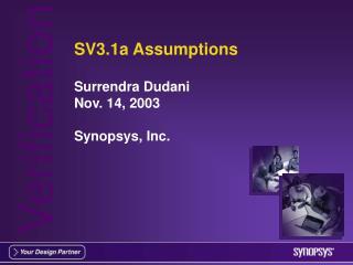 SV3.1a Assumptions