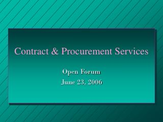 Contract & Procurement Services