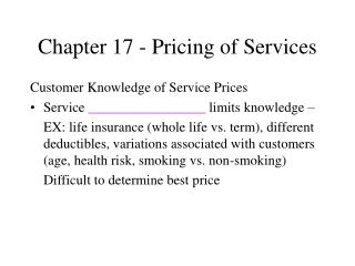 Chapter 17 - Pricing of Services