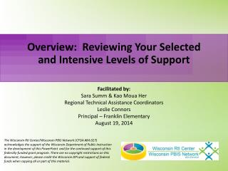 Overview:  Reviewing Your Selected and Intensive Levels of Support