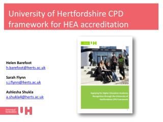 University of Hertfordshire CPD framework for HEA accreditation
