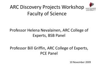 ARC Discovery Projects Workshop Faculty of Science
