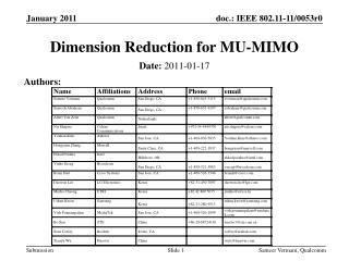 Dimension Reduction for MU-MIMO