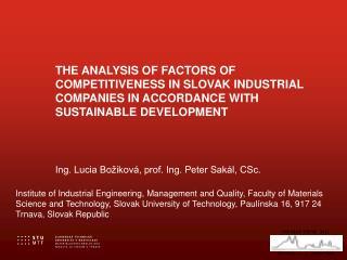 Ing. Lucia Božiková, prof. Ing. Peter Sakál, CSc.