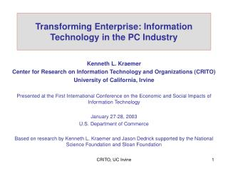 Transforming Enterprise: Information Technology in the PC Industry