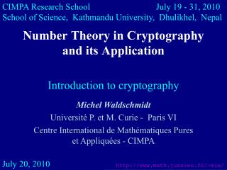 Number Theory in Cryptography  and its Application