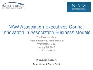 NAW Association Executives Council Innovation In Association Business Models