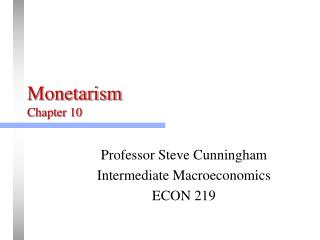 Monetarism Chapter 10