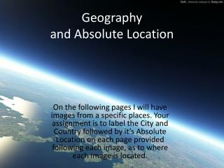 Geography and Absolute Location