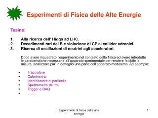 Esperimenti di Fisica delle Alte Energie