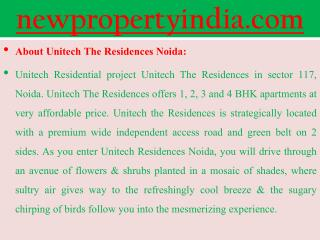 Unitech Luxury Projects @@ 09654435045 ## The Residences Sec