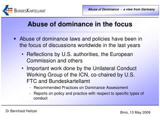 Abuse of dominance  in  the focus