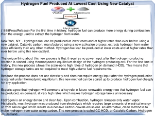 Hydrogen Fuel Produced At Lowest Cost Using New Catalyst