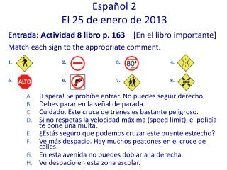 Español 2 El 25 de enero de 2013