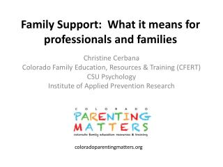 Family Support:  What it means for professionals and families