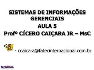 SISTEMAS DE INFORMA  ES GERENCIAIS AULA 5 Prof  C CERO CAI ARA JR   MsC    - ccaicarafatecinternacional.com.br