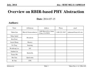 Overview on RBIR-based PHY Abstraction